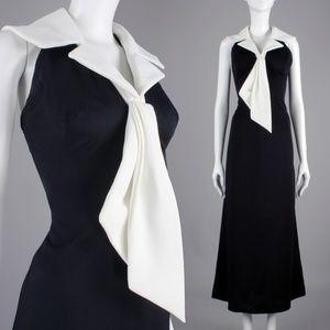 Vintage Dresses - S/M Vintage 60s 70s Halter Wide Collar Maxi Dress